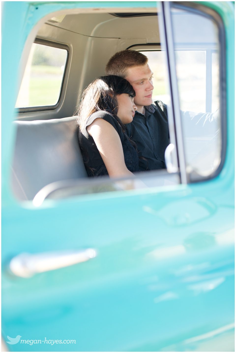 Mint Green Vintage Chevy Engagement