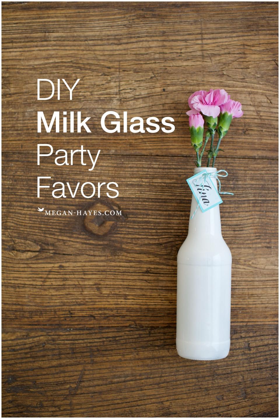DIY Milk Glass Party Favors